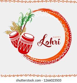 Happy Lohri, Punjabi Festival Indian Background Frame Design. Lohri Traditional Pattern.