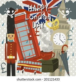 Happy London Day greeting card. Vector postcard for holidays, ui, web games, tablets, wallpapers, and patterns.