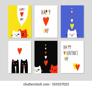 Happy love day. Set of cute creative cards with funny cats in love. Vector design templates for valentines, greeting and gift cards, flyers, posters.
