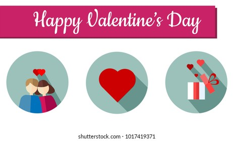Happy Love and Heart Flat Icon set-couple,heart,gift box.Valentines day concept.