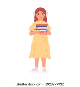 Happy lovely girl standing with pile of books. Sweet kid holding stack of textbooks from school library. Colored flat vector illustration of child or schoolgirl in dress isolated on white background