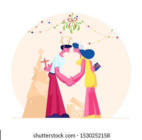 Happy Loving Couple Kissing and Holding Hands under Mistletoe Branch. Man and Woman in Festive Costumes with Gifts Merry Christmas and New Year Party Celebration. Cartoon Flat Vector Illustration