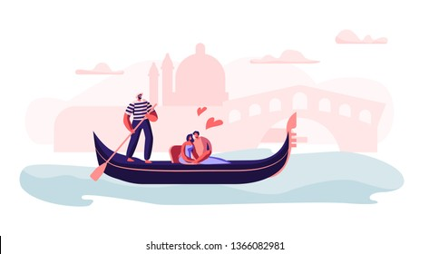 Happy Loving Couple Sitting in Gondola with Gondolier Floating at Canal Hugging with Hearts Around, Love in Venice. Man and Woman Have Trip or Romantic Tour to Italy. Cartoon Flat Vector Illustration