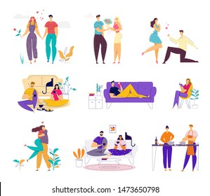 Happy Loving Couple Spend Time Together on Weekend Set. Man and Woman Doing Home Household Activity, Dating and Meeting Outdoors, Relaxing and Cooking Having Leisure Cartoon Flat Vector Illustration