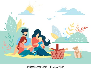 Happy Loving Family of Mother, Father, Daughter and Son on Picnic with Pet Outdoors, Little Boy Sitting on Mom Hands, People Relaxing Together in Park, Love, Relations Cartoon Flat Vector Illustration