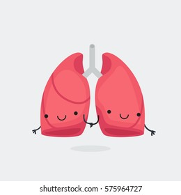 Happy lungs vector illustration