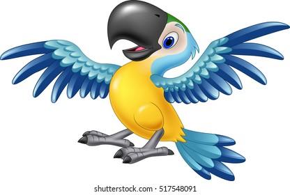 Happy macaw flying