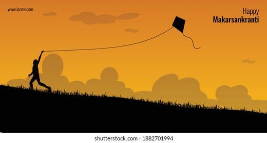 Happy Makar Sankranti concept. A kid flying kite on ground silhouette.