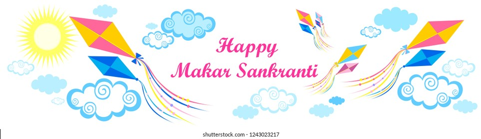 Happy Makar Sankranti greeting card with  lettering, colorful kites, sun,  sky, blue clouds and place for your text. Art design celebrate party invitation template. January 15. Vector Illustration