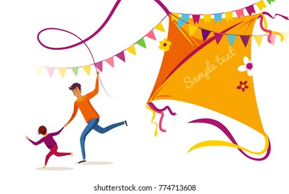 Happy Makar Sankranti holiday background, banner or poster. Happy family father and son flying kite and having fun. Vector illustration