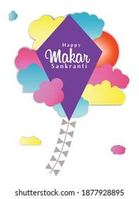 Happy makar sankranti, kite festival, uttarayan, social media post, Vector illustration.