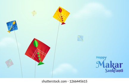 Happy Makar Sankranti poster design with illustration of colorful kites flying sunny weather background.