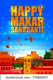 Happy Makar Sankranti religious festival of India celebration background. Vector illustration