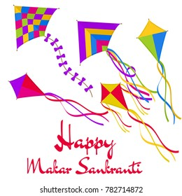 Happy Makar Sankranti! Vector illustration with colorful bright kites and greeting isolated on white background