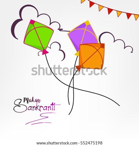 Happy Makar Sankranti Vector Illustration Kites Stock Vector