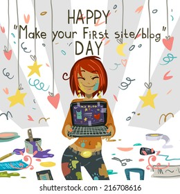 Happy Make your first site or blog day greeting card. Vector postcard for holidays, ui, web games, tablets, wallpapers, and patterns.
