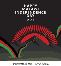 Happy Malawi independence day vector illustration with a long and wavy flag in a black theme. An illustration picturing the night sky