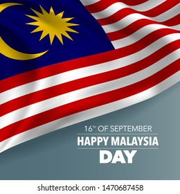 Happy Malaysia day greeting card, banner, vector illustration. Malaysian national day 16th of September background with elements of flag, square format