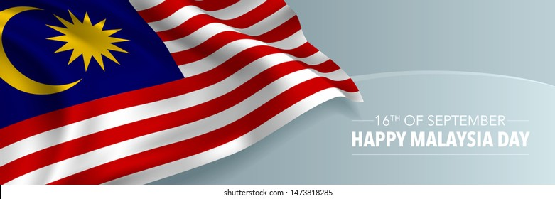 Happy Malaysia day vector banner, greeting card. Malaysian wavy flag in 16th of September national patriotic holiday horizontal design
