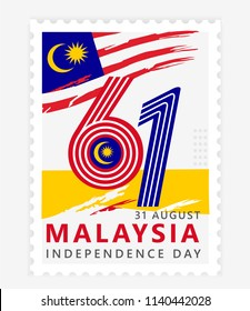 Happy malaysia independence day 61th simple stamp, postage or postcard with flag national background vector illustration symbol