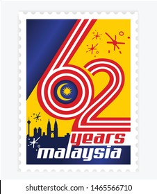 Happy malaysia independence day 62th simple stamp, postage or postcard with flag national background vector illustration symbol