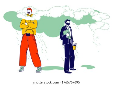 Happy Male Character in Bright Clothing Stand with Head in Clouds, Sad Businessman in Formal Wear Get Wet under Rain. Daydreaming, Creative Imagination or Positivity. Linear People Vector Illustration