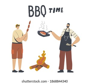 Happy Male Characters Spend Time on Outdoor Bbq. Family or Friends Cooking, Eating Sausages and Meat on Grill and Fire at Front Yard Having Leisure at Summer Weekend. Linear People Vector Illustration