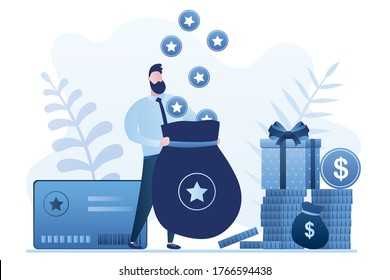 Happy male consumer holds bag and earns bonus points. Loyalty, bonus card, promotion program with prizes and cashback. Reward program for clients. Marketing concept. Flat trendy vector illustration