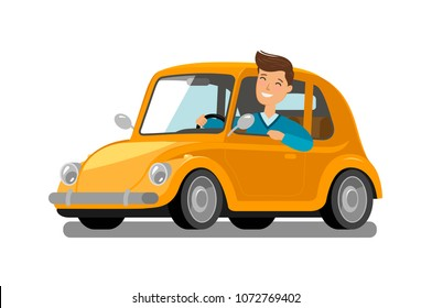 Happy male driver rides car. Driving, trip, taxi concept. Cartoon vector illustration