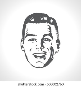 Happy male face, smile retro vector illustration. Smiling man face vintage line art graphics