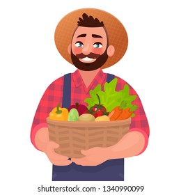 Happy male farmer holding a basket with vegetables. Useful and tasty rustic foods. Design element of a private farm. Vector illustration in cartoon style