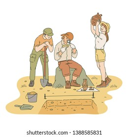 Happy male and female archaeologists researching found artifacts sketch style, vector illustration isolated on white background. Successful archeology excavation of ancient treasures
