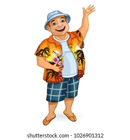Happy male tourist in a Hawaiian shirt and Panama waving his hand. He holds a cocktail in his hand in a coconut. Holidays in the Hawaiian Islands. vector illustration. Character in the cartoon style.