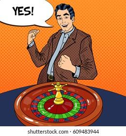 Happy Man Behind Roulette Table Celebrating Big Win. Casino Gambling. Pop Art Vector retro illustration