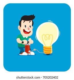 Happy man came up with the cool idea. Good idea cartoon illustration
