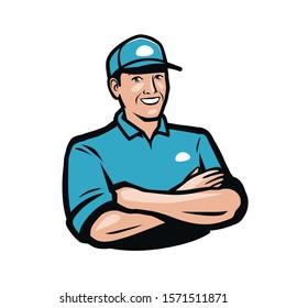 Happy man in a cap. Cartoon vector illustration