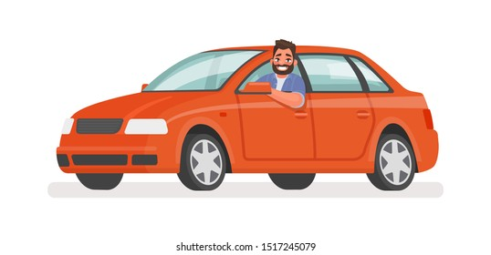 Happy man in the car. Motorist driving a vehicle on an isolated background. Vector illustration in cartoon style