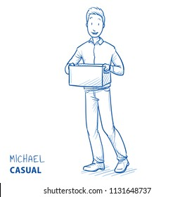 Happy man in casual clothes carrying a box. Concept for new job, new home, delivery or donations. Hand drawn blue outline line art cartoon vector illustration.
