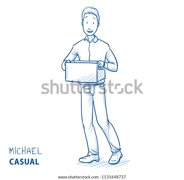 Happy Man Casual Clothes Carrying Box Royalty Free Stock Image