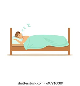 Happy man character sleeping in his bed, people resting vector Illustration