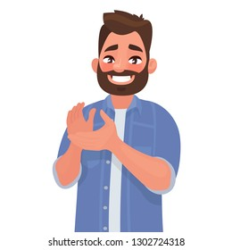 Happy man claps his hands. Gesture of admiration. Bravo. Congratulations. Vector illustration in cartoon style