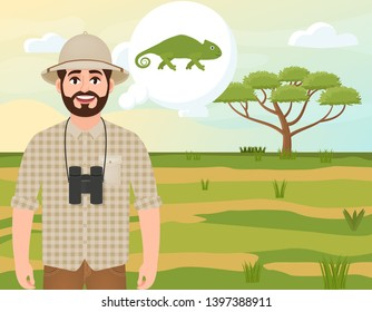 Happy man in cork hat, animal hunter thinks about chameleon, safari landscape, umbrella acacia, African countryside, vector illustration