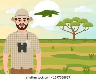 Happy man in cork hat, animal hunter thinks of a crocodile, safari landscape, umbrella acacia, African countryside, vector illustration