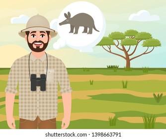 Happy man in cork hat, animal hunter thinks about aardvark, safari landscape, acacia umbrella, African countryside, vector illustration