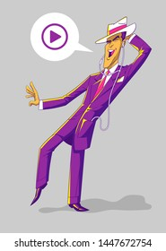 Happy man dancing and listening to music on his cell phone. This colorful vector character has a modern design. You can easily edit his colors or the bubble.