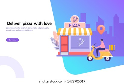 happy man deliver pizza with motorcycle, online food order, fast delivery vector illustration concept, deliveryman ride scooter bike landing page, template, ui, web, mobile app, poster, banner, flyer