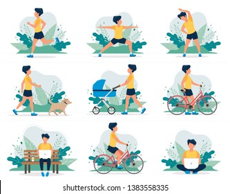 Happy man doing different outdoor activities: running, dog walking, yoga, exercising, sport, cycling, walking with baby carriage. Vector illustration in flat style, healthy lifestyle concept.