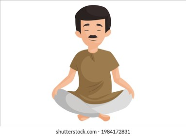 Happy man is doing Siddhasana yoga poses. Vector graphic illustration. Individually on a white background.