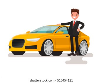Happy man dressed in a suit next to the car. The seller or the owner of a new machine. Vector illustration in a flat style