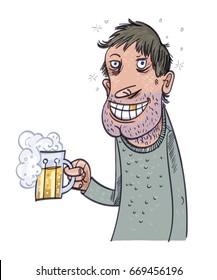 Happy Man Drinking Beer. Vector illustration